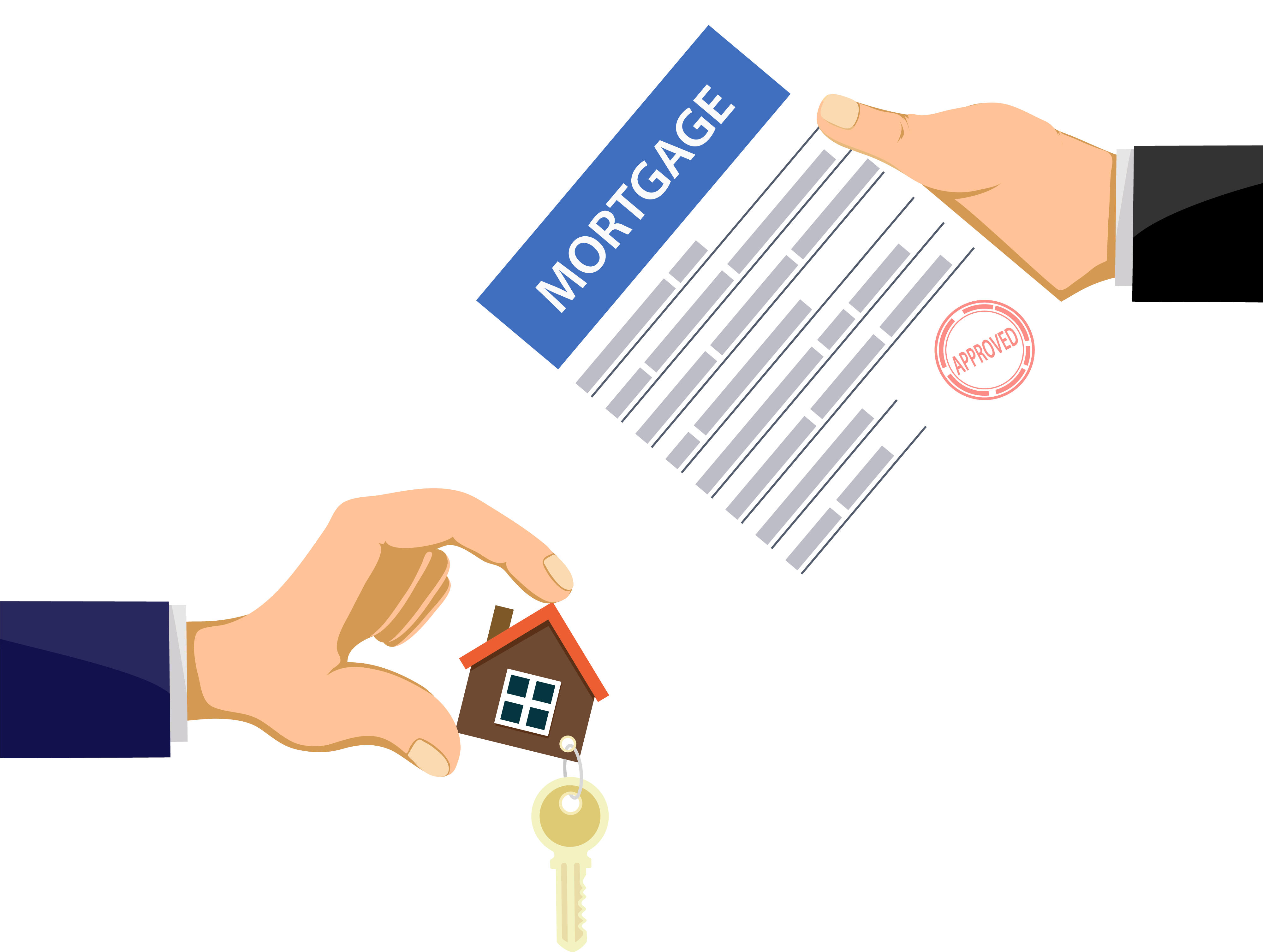 Hands holding house keys and mortgage papers